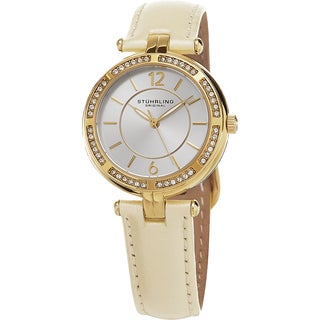 Stuhrling Original Women's Serena Quartz Cystal Beige Leather Strap Watch