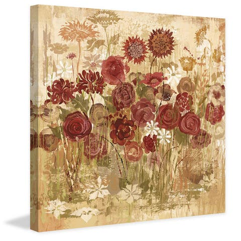 Marmont Hill - Handmade Floral Frenzy Burgundy V Painting Print on Canvas