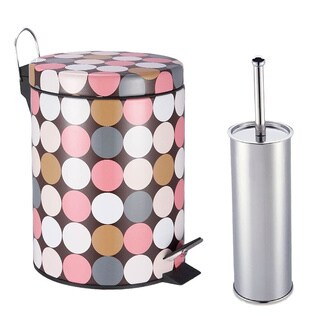Designer Dotty Polka Pattern Printed Step-on Trash Bin with Toilet Brush