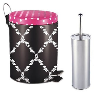 Designer Mystic Trellis Pattern Printed 5L Step on Trash Bin with Toilet Brush