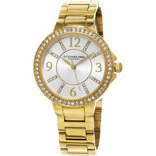 Stuhrling Original Women's Allure Quartz Crystal Gold Tone Bracelet Watch