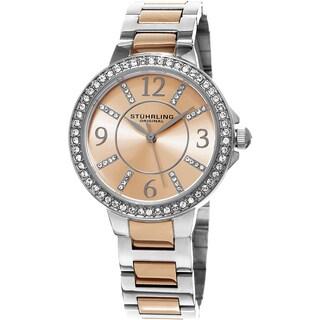 Stuhrling Original Women's Allure Quartz Crystal Stainless Steel Two Tone Bracelet Watch
