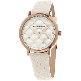 Stuhrling Original Women's Audrey Quartz Crystal Tufted Design White Leather Strap Watch