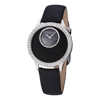 Stuhrling Original Women's Radiant Swiss Quartz Mother Of Pearl Dial Crystal Satin Twill Covered Leather Strap Set Watch|https://ak1.ostkcdn.com/images/products/11079386/P18087676.jpg?impolicy=medium