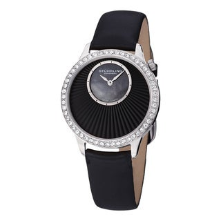 Stuhrling Original Women's Radiant Swiss Quartz Mother Of Pearl Dial Crystal Satin Twill Covered Leather Strap Set Watch