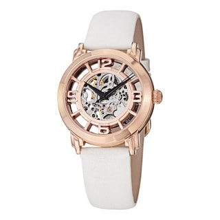 Stuhrling Original Women's Lady Winchester Automatic Skeleton White Leather Strap Watch