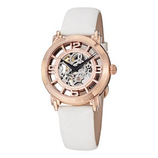 Stuhrling Original Women's Lady Winchester Automatic Skeleton White Leather Strap Watch|https://ak1.ostkcdn.com/images/products/11079387/P18087677.jpg?impolicy=medium