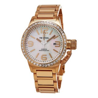 TW Steel Women's TW306 'Canteen' Mother of Pearl Dial Rose Goldtone Austrian Crystal Quartz Watch - GOLD