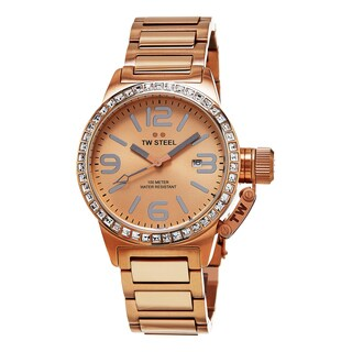 TW Steel Women's TW305 'Canteen' Goldtone Dial Rose Goldtone Stainless Steel Austrian Crystal Quartz Watch