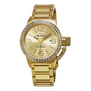 TW Steel Women's TW309 'Canteen' Goldtone Dial Yellow Goldtone Stainless Steel Austrian Crystal Quartz Watc