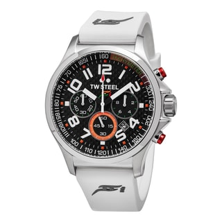 TW Steel Men's TW428 'Sahara Force' Black Carbon Fiber Dial White Rubber Strap Chronograph Quartz Medium Watch