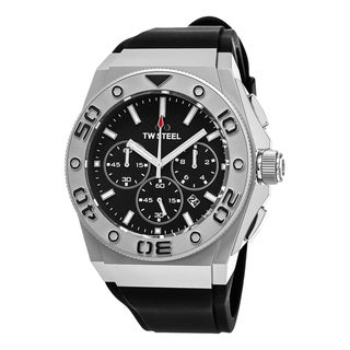 TW Steel Men's CE5008 'Ceo Diver' Black Dial Black Rubber Strap Chronograph Quartz Medium Watch