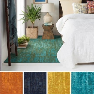 Flatweave Blueway Cotton/ Polyester Rug (8' x 10') - 8' x 10'