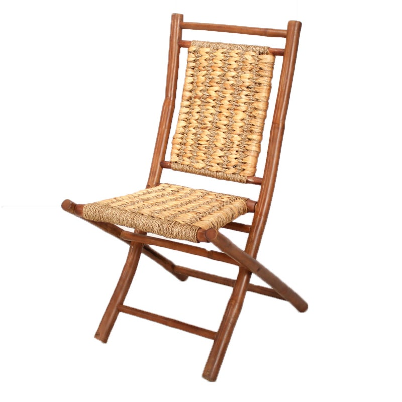 Striped Brown Finish Bamboo Folding Chair (Bamboo Chair),...