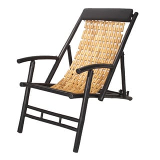 Black and Bamboo Folding Sling Chair with Black Headrest