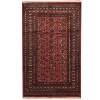 Herat Oriental Pakistani Hand-knotted Prince Bokhara Salmon/ Gold Wool Rug (5' x 8')