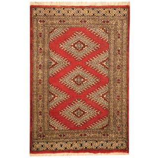 Herat Oriental Pakistani Hand-knotted Prince Bokhara Red/ Black Wool Rug (2' x 3')