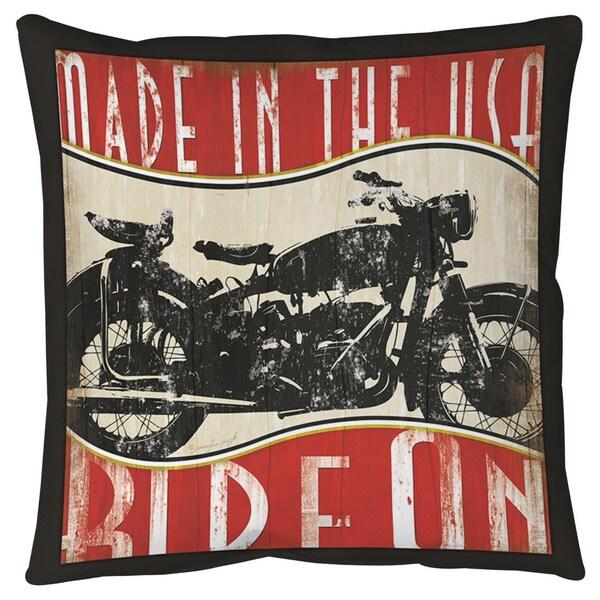 Vintage Motorcycle Floor Pillow