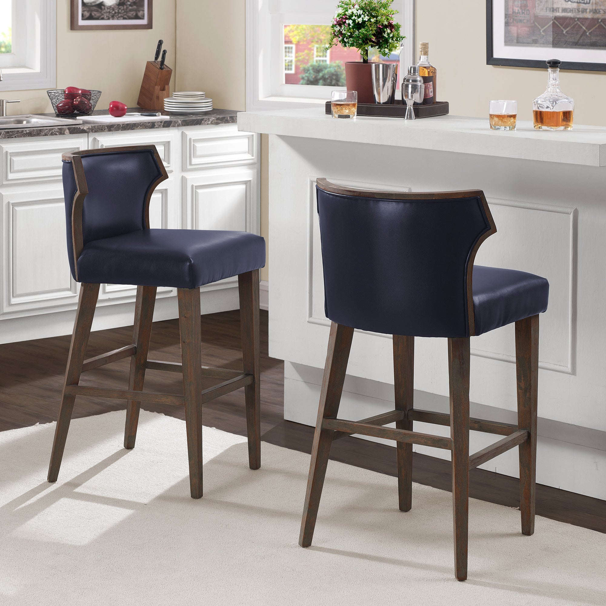 Marvin Navy Bonded Bar Stool, Blue (Bonded Leather)