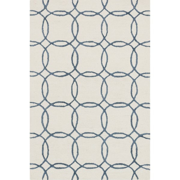 "Hand-hooked Ivory/ Blue Contemporary Geometric Rug - 9'3"" x 13'"