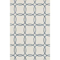 Hand-hooked Ivory/ Blue Contemporary Geometric Rug - 9'3 x 13'