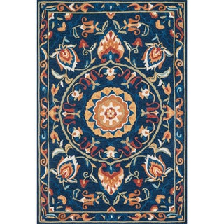 Hand-hooked Charlotte Blue/ Spice Rug (3'6 x 5'6)