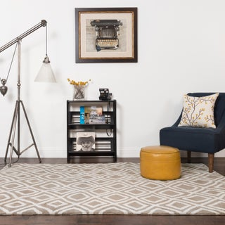 Microfiber Woven Beige Contemporary Geometric Rug - 9'3 x 13'