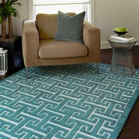 Hand-tufted Logan Teal Wool Rug - 3'6 x 5'6