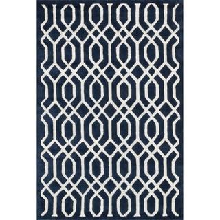 Hand-tufted Logan Navy Wool Rug (9'3 x 13')