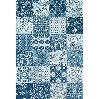 Microfiber Woven Beckett Blue Rug (7'6 x 9'6)