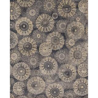 Microfiber Woven Beckett Charcoal/ Beige Rug (7'6 x 9'6)