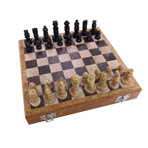 Handmade Carved Soapstone 10-inch Chess Set (India) - Black
