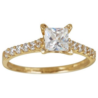 Decadence 14K Gold 6mm Princess Cut Pave Engagement Ring