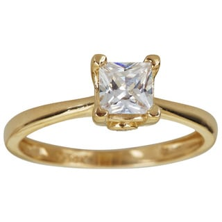 Decadence 14K Gold 6mm Prncess Cut Solitaire Engagemnet Ring