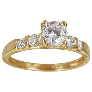 Decadence 14K Gold 6mm Round Cut 5 Stone Engagement Ring