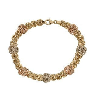 Decadence 14k Tri-color Gold 7-10mm Rosetta Station Bracelet