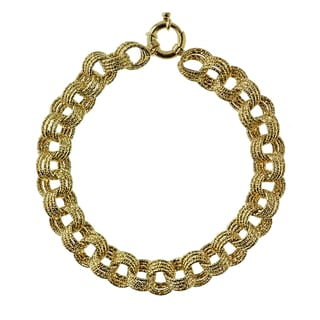 Decadence 14k Yellow Gold Triple Rollo DC 10mm Link Bracelet