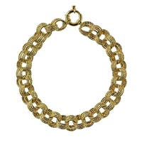 Decadence 14k Yellow Gold Triple Rollo DC 10mm Link Bracelet