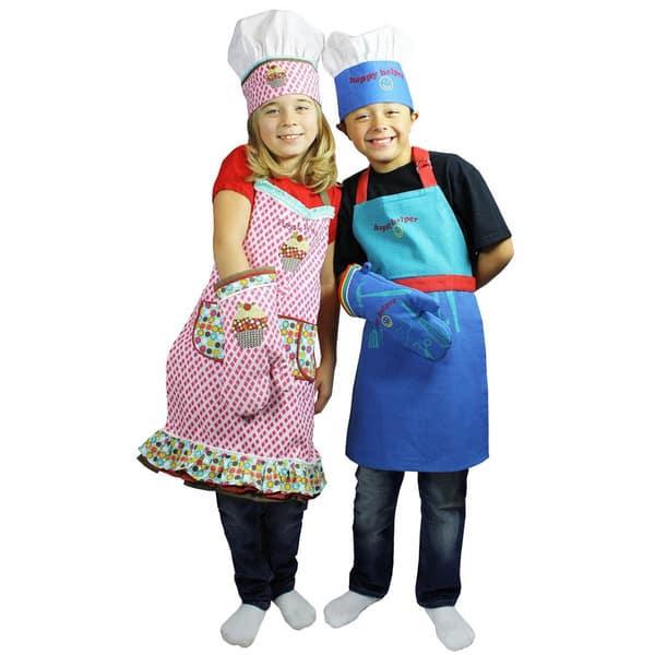 Mukitchen Minimu Kids 3 Piece Cotton Chef Set With Apron Hat And Mitt Happy Helper Overstock 11080784