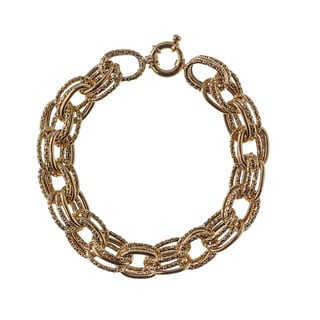 Decadence 14K Yellow Gold Pol & Tex 10MM Triple Link Bracelet