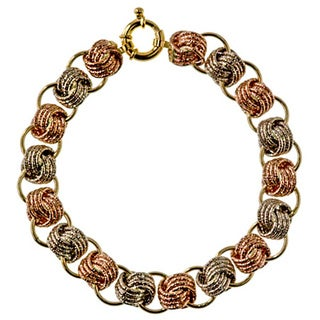 Decadence 14k Tri-color Gold 20mm Rosetta Link Bracelet