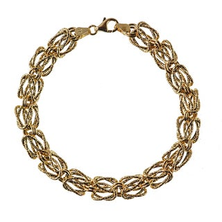 Decadence 14K Yellow Gold 9mm Textured Woven Byzantine Bracelet