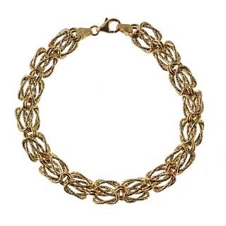 Decadence 14K Yellow Gold 9mm Textured Woven Byzantine Bracelet