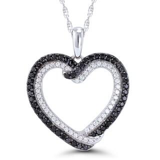 10k White Gold 1/2ct TDW Black and White Diamond Heart Pendant (H-I, I2-I3)