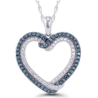 10k White Gold 1/2CT. T.W Blue and White Diamond Intertwined Heart Pendant