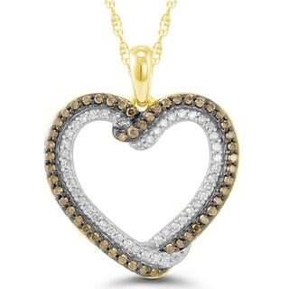 10k Yellow Gold 1/2ct TDW Cocoa Diamond Heart Pendant