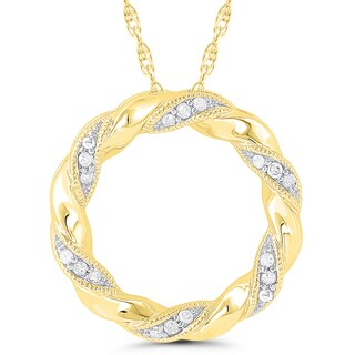 10k Yellow Gold Diamond Accent Ribbon Circle Pendant