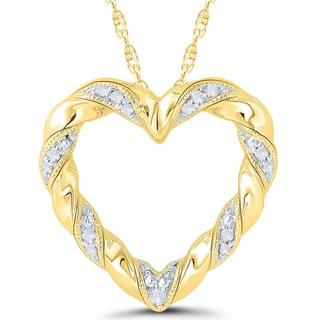 10k Yellow Gold Diamond Accent Ribbon Heart Pendant