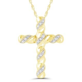 10k Yellow Gold Diamond Accent Cross Pendant (H-I, I2-I3)