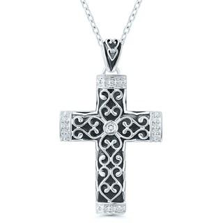Sterling Silver Diamond Accent Cross Pendant